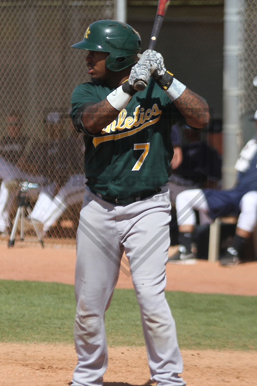 MARYVALE - March 2014: BJ Boyd of the Oakland Athletics during a spring training game against the Milwaukee Brewers on March 18th, 2014 at Maryvale Baseball Park in Maryvale, Arizona.  (Photo Credit: Brad Krause)