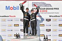 #33 Riley Motorsports Mercedes AMG GT3, GTD: Jeroen Bleekemolen, Ben Keating celebrates the win in Victory Lane on the podium