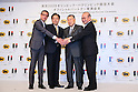(L to R) <br /> Kiichiro Matsumaru, <br />  Masaki Yamauchi, <br /> Yoshiro Mori, <br /> Mitsunori Torihara, <br /> AUGUST 10, 2015 : <br /> Yamato Holdings has Press conference in Tokyo. <br /> Yamato Holdings announced that <br /> it has entered into a partnership agreement with <br /> the Tokyo Organising Committee of the Olympic and Paralympic Games. <br /> With this agreement, Yamato Holdings becomes the official partner. <br /> (Photo by YUTAKA/AFLO SPORT)