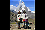 Switzerland Matterhorn.  <br /> Many landscape photographers feel walking a great distance makes their photo more worthwhile. Many classic shots are right from the road or like here, near the railroad station.