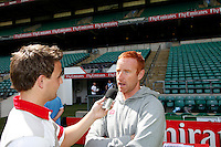 Photo: Richard Lane/Richard Lane Photography. .Emirates Airline Media training day with the England Sevens team at Twickenham. 13/05/2011. England coach, Ben Ryan is interviewed.