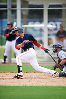 GCL Red Sox third baseman Stanley Espinal (15) at bat during the first game of a doubleheader against the GCL Rays on August 9, 2016 at JetBlue Park in Fort Myers, Florida.  GCL Rays defeated GCL Red Sox 5-4.  (Mike Janes/Four Seam Images)