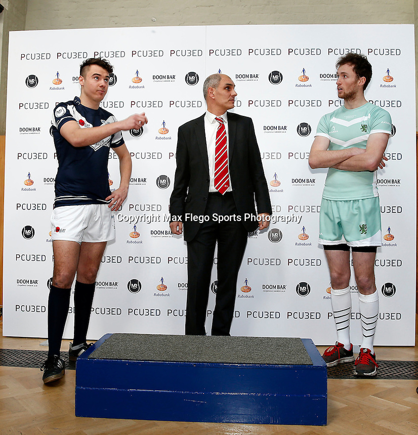 Coin toss during the 2016 Pcubed Rugby League Varsity game between Oxford University and Cambridge University at the HAC ground, London, on Fri March 4, 2016