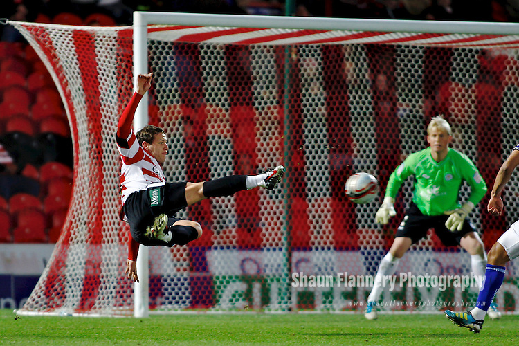 Doncaster Rovers v Leicester City<br /> 17.12.2011<br /> npower Championship<br /> Billy Sharp scores a spectacular second goal for Doncaster.