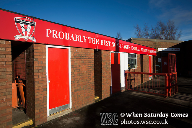 Witton Albion 1 Warrington Town 2, 26/12/2017. Wincham Park, Northern Premier League. A sign advertising a small museum dedicated to non-League football at Wincham Park, home of Witton Albion, pictured before their Northern Premier League premier division fixture with Warrington Town. Formed in 1887, the home team have played at their current ground since 1989 having relocated from the Central Ground in Northwich. With both team chasing play-off spots, the visitors emerged with a 2-1 victory, the winner being scored by Tony Gray in second half injury time, watched by a crowd of 503. Photo by Colin McPherson.