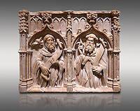 Gothic alabaster relief sculpture of two profits by Pere Oller, circa 1415, from the convent del Carme, Girona, Spain..  National Museum of Catalan Art, Barcelona, Spain, inv no: MNAC 214163. Against a light grey background.