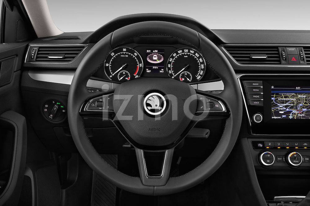 Car pictures of steering wheel view of a 2016 Skoda Superb Ambition 5 Door Hatchback Steering Wheel