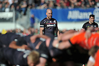 Charlie Hodgson of Saracens watches a scrum. Aviva Premiership match, between Saracens and Leicester Tigers on April 11, 2015 at Allianz Park in London, England. Photo by: Patrick Khachfe / JMP