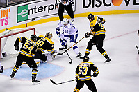May 2, 2018: Tampa Bay Lightning center J.T. Miller (10) battles for a rebounding puck off Boston Bruins goaltender Tuukka Rask's stick (40) during game three of the second round of the National Hockey League's Eastern Conference Stanley Cup playoffs between the Tampa Bay Lightning and the Boston Bruins held at TD Garden, in Boston, Mass. Tampa Bay defeats Boston 4-1. Eric Canha/CSM