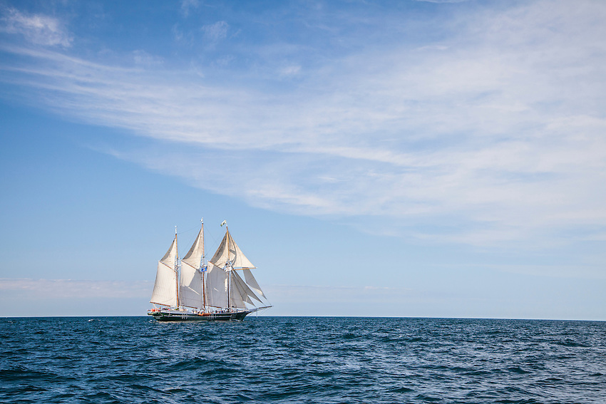 Tall ships on Lake Superior at Marquette, Michigan.