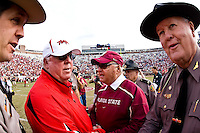 November 21, 2009:   Maryland head coach Ralph Friedgen (L) congratulates Florida State head coach Bobby Bowden after Atlantic Coast Conference action between the Maryland Terrapins and Florida State Seminoles at Doak Campbell Stadium in Tallahassee, Florida.  Florida State defeated Maryland 29-26.