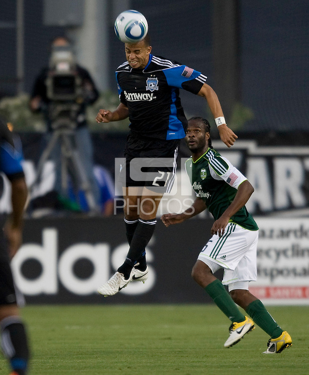 Jason Hernandez of Earthquakes controls the ball in the air during the game against the Timbers at Buck Shaw Stadium in Santa Clara, California on August 6th, 2011.   San Jose Earthquakes and Portland Timbers tied 1-1.