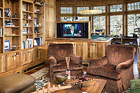 Man Cave With Hidden Wooden Technology Stand