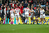 2nd December 2017, Rioch Arena, Coventry, England; Aviva Premiership rugby, Wasps versus Leicester; Graham Kitchener of Leicester Tigers congratulates Tom Youngs (c) of Leicester Tigers for scoring their first try
