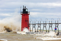64795-02220 South Haven Lighthouse with high waves crashing South Haven,  MI