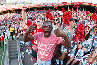 STANFORD, CA - SEPTEMBER 21: Fans in the Stanford student section cheer for the Stanford Cardinal during a game between University of Oregon and Stanford Football at Stanford Stadium on September 21, 2019 in Stanford, California.