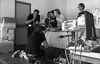 Genova Luglio 2001.G8.Stadio Carlini,.La sala stampa dei Disobbedienti