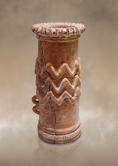 Minoan cylindrical cult vessel base used to support vessels full of offerings ,  1300-1100 BC,  Heraklion Archaeological  Museum .<br /> <br /> These cylindrical cult vessels were used until the Postpalatial period in the shrines of the godesses wth upraised arms