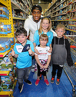 Pictured: Leroy Fer Wednesday 08 December 2016<br />Re: Swansea City FC players have bought Christmas gifts for 60 children at Smyths toy store in Swansea, south Wales.