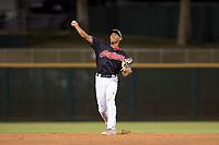 AZL Indians 1 second baseman Richard Palacios (13) makes a throw to first base during an Arizona League game against the AZL White Sox at Goodyear Ballpark on June 20, 2018 in Goodyear, Arizona. AZL Indians 1 defeated AZL White Sox 8-7. (Zachary Lucy/Four Seam Images)