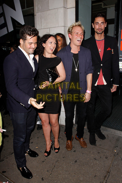 Spencer Matthews, guest, Jamie Laing &amp; Hugo Taylor<br /> Lipsy VIP Fashion Awards 2013, DSTRKT, London, England.<br /> 29th May, 2013<br /> full length blue black red suit top jacket  <br /> CAP/AH<br /> &copy;Adam Houghton/Capital Pictures