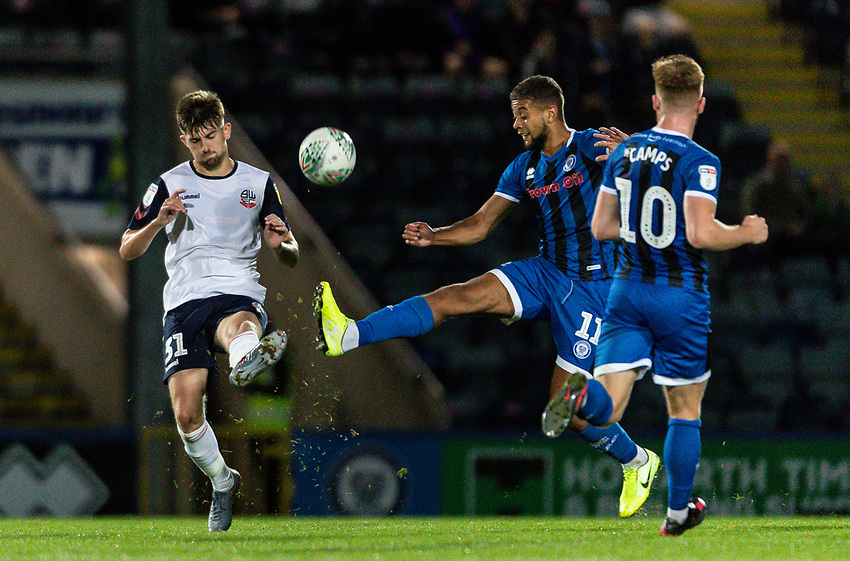 Bolton Wanderers' Jordan Boon (left) competing with Rochdale's Rekeil Pyke <br /> <br /> Photographer Andrew Kearns/CameraSport<br /> <br /> The Carabao Cup First Round - Rochdale v Bolton Wanderers - Tuesday 13th August 2019 - Spotland Stadium - Rochdale<br />  <br /> World Copyright © 2019 CameraSport. All rights reserved. 43 Linden Ave. Countesthorpe. Leicester. England. LE8 5PG - Tel: +44 (0) 116 277 4147 - admin@camerasport.com - www.camerasport.com