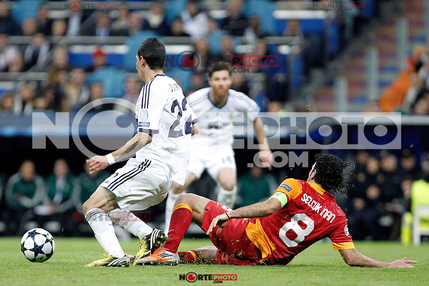 Real Madrid's Angel Di Maria and Galatasaray's Selcuk Inan during the quarter final Champion League match. April 3, 2013.(ALTERPHOTOS/Alconada)
