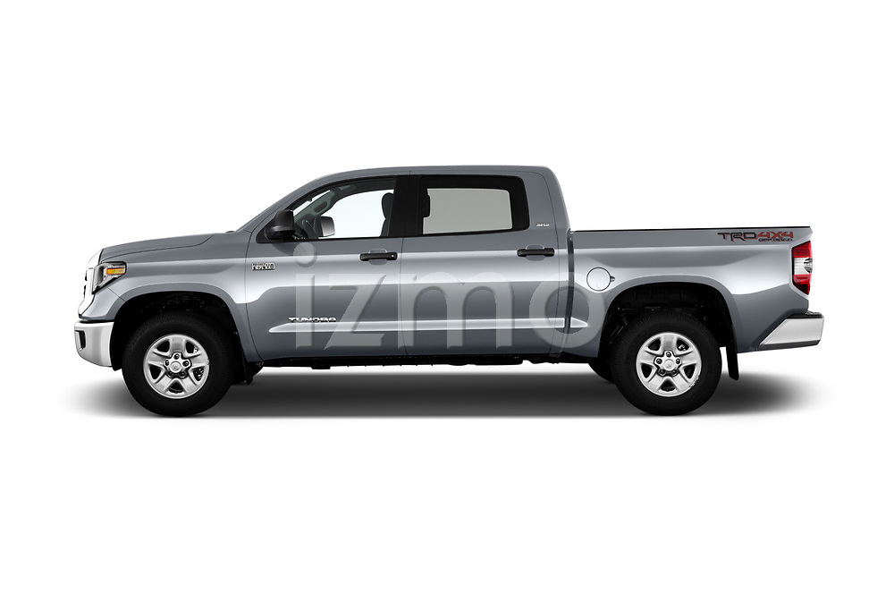 Car driver side profile view of a 2019 Toyota Tundra SR5 5.7L Crew Max 4WD Short Bed 4 Door Pick Up