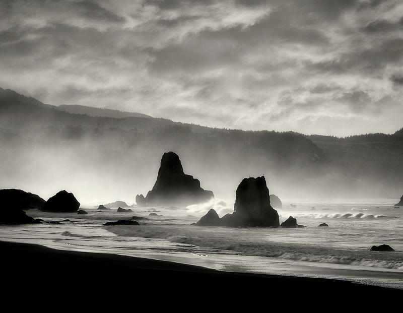 Morning fog at beach in Port Orgord, Oregon