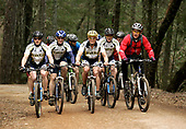 United States President George W. Bush rides with the Travis Air Force Base cycling team at the Los Posados State Forest, in St. Helena, California, Saturday, April 22, 2006.<br /> Mandatory Credit: Eric Draper / White House via CNP