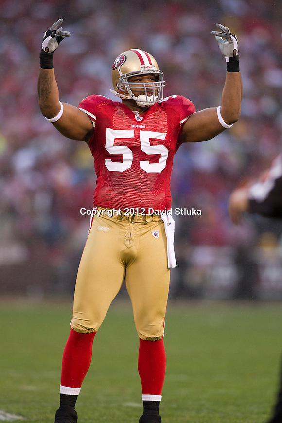 San Francisco 49ers linebacker Ahmad Brooks (55) during an NFC Championship NFL football game against the New York Giants on January 22, 2012 in San Francisco, California. The Giants won 20-17 in overtime. (AP Photo/David Stluka)