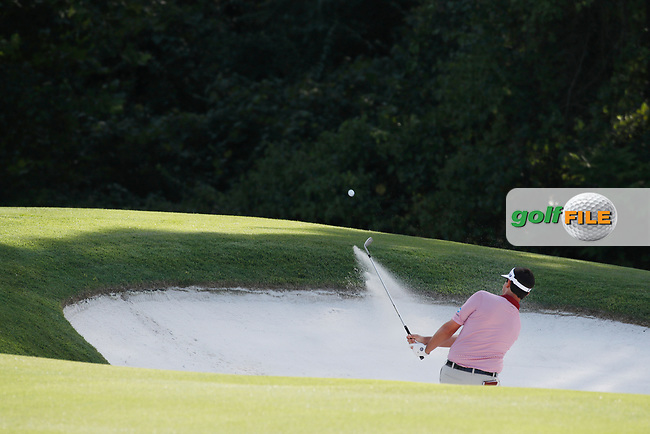 Beau Hossler (USA) hits out of a sand trap on the 17th hole during the first round of the 100th PGA Championship at Bellerive Country Club, St. Louis, Missouri, USA. 8/9/2018.<br /> Picture: Golffile.ie | Brian Spurlock<br /> <br /> All photo usage must carry mandatory copyright credit (© Golffile | Brian Spurlock)