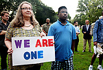 WATERBURY CT. 14 August 2017-081417SV11-Deb Kelleher of Cheshire stands with her son Noah Kelleher while listening to speakers at a &quot;solidarity&quot; gathering in Library Park in Waterbury Monday. The gathering was in response to Saturday's protests in Charlottesville, VA. <br /> Steven Valenti Republican-American