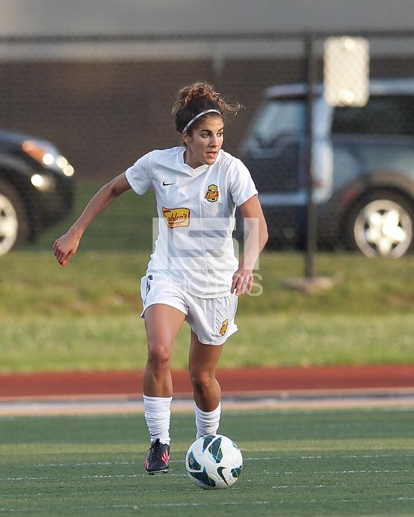 Western New York Flash midfielder Angela Salem (6) looks to pass. In a National Women's Soccer League Elite (NWSL) match, the Boston Breakers (blue) tied Western New York Flash (white), 2-2, at Dilboy Stadium on June 5, 2013.