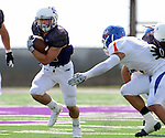SIOUX FALLS, SD - SEPTEMBER 5: Max Mickey #22 from the University of Sioux Falls breaks loose past Seth Walton #1 from the University of Mary in the first half of their game Saturday afternoon at Bob Young Field.  (Photo by Dave Eggen/Inertia)