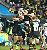 January 7th 2018, Ricoh Arena, Coventry, England;  Aviva Premiership rugby, Wasps versus Saracens;   James Gaskell (Wasps) goes ariel to claim the high ball during the Aviva Premiership (Round 13) match between Wasps and Saracens rfc at the Ricoh Stadium