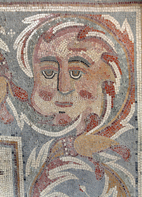 "Mosaic from the Church of the Apostles, Madaba, Jordan. The ruins of this Byzantine church date to 578 AD, and are currently being restored. On the floor is a mosaic depicting the twelve apostles and Thalassa, a woman representing the sea. Known as the  ""Personification of the Sea"", the mosaic shows Thalassa emerging from the sea, surrounded by mythical aquatic creatures, rams, bulls, parrots and exotic vegetation. Here we see a face from the border. The mosaic was signed by a mosaicist named Salamanios. Picture by Manuel Cohen"