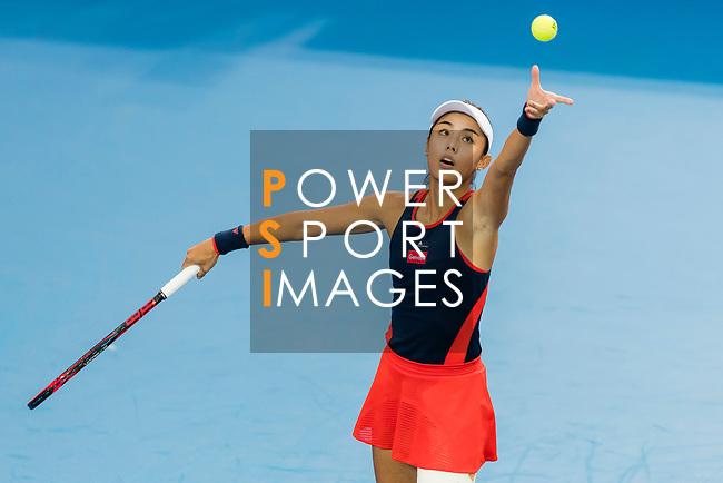 Wang Qiang of China competes against Zhang Ling of Hong Kong during the singles first round match at the WTA Prudential Hong Kong Tennis Open 2018 at the Victoria Park Tennis Stadium on 09 October 2018 in Hong Kong, Hong Kong.