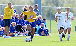 BROOKINGS, SD - AUGUST  22: Brittany Jensen #14 from South Dakota State University pushes the ball in past Kara Baugrud #2 and Alex Zeller #10 from Green Bay in the first half of their game Sunday afternoon at Fischback Soccer Field in Brookings. (Photo by Dave Eggen/Inertia)