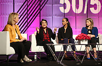 LOS ANGELES, CA - NOVEMBER 2: Hilary Rosen, Dolores Huerta, Zoe Saldana, Katie Hill, at TheWrap's Power Women's Summit Inside at the InterContinental Hotel in Los Angeles, California on November 2, 2018. Credit: Faye Sadou/MediaPunch