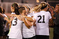 Penn's Victoria Varga, right, celebrates a 2-0 win against Brebeuf Jesuit in the IHSAA Class 2A Girls Soccer State Championship Game on Saturday, Oct. 29, 2016, at Carroll Stadium in Indianapolis. Special to the Tribune/JAMES BROSHER