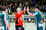 Stockholm 2014-03-02 Handboll Elitserien Hammarby IF - Ystads IF :  <br /> Hammarbys m&aring;lvakt Daniel Svensson &auml;r glad efter matchen och g&ouml;r high five med Hammarbys Jonatan Wenell <br /> (Foto: Kenta J&ouml;nsson) Nyckelord:  Ystad Bajen HIF jubel gl&auml;dje lycka glad happy