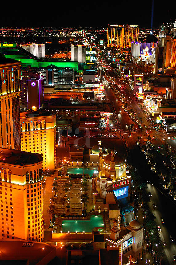The view of the strip from the Eiffel Tower at the Paris resort hotel and casino in Las Vegas, Nevada.