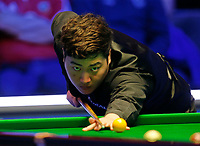 1st March 2020; Waterfront, Southport, Merseyside, England; World Snooker Championship, Coral Players Championship; Yan Bingtao (CHN) at the table during the evening session final against Judd Trump (ENG)