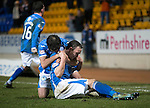 St Johnstone v Inverness Caley Thistle&hellip;09.03.16  SPFL McDiarmid Park, Perth<br />Chris Kane celebrates his goal with Simon Lappin<br />Picture by Graeme Hart.<br />Copyright Perthshire Picture Agency<br />Tel: 01738 623350  Mobile: 07990 594431