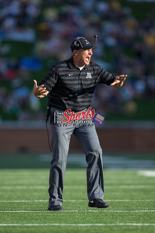 Army Black Knights head coach Jeff Monken yells instructions to his team during second half action against the Wake Forest Demon Deacons at BB&T Field on September 20, 2014 in Winston-Salem, North Carolina.  The Demon Deacons defeated the Black Knights 24-21.  (Brian Westerholt/Sports On Film)