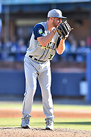 Columbia Fireflies starting pitcher Christian James (30) looks to his catcher for the sign against the Asheville Tourists at McCormick Field on June 22, 2019 in Asheville, North Carolina. The Tourists defeated the Fireflies 6-5. (Tony Farlow/Four Seam Images)