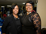 WATERBURY, CT-092317JS12-- Committee members Aretha Davis and Michelle Huggins at the Refuge Church of Christ's 70th anniversary banquet held at the church in Waterbury. <br />  Jim Shannon Republican-American