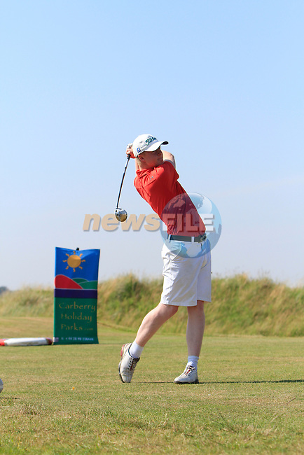 Sam Sweeney (Seapoint) enjoying a practice round during The Clogherhead RNLI Annual Golf Classic sponsored by Carberry Holiday Parks at Seapoint Golf Club on Friday 25th July 2014.<br /> Picture:  Thos Caffrey / www.newsfile.ie