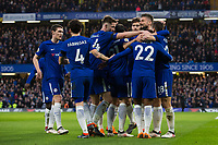 Chelsea players celebrate the opening goal <br /> <br /> Photographer Craig Mercer/CameraSport<br /> <br /> The Premier League - Chelsea v Crystal Palace - Saturday 10th March 2018 - Stamford Bridge - London<br /> <br /> World Copyright &copy; 2018 CameraSport. All rights reserved. 43 Linden Ave. Countesthorpe. Leicester. England. LE8 5PG - Tel: +44 (0) 116 277 4147 - admin@camerasport.com - www.camerasport.com